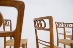 Paolo Buffa Paolo Buffa Set of eight chairs in walnut wood and straw 1950s - 1888995