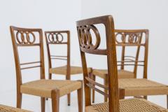 Paolo Buffa Paolo Buffa Set of eight chairs in walnut wood and straw 1950s - 1888996