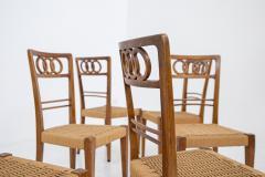 Paolo Buffa Paolo Buffa Set of eight chairs in walnut wood and straw 1950s - 1888997