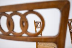 Paolo Buffa Paolo Buffa Set of eight chairs in walnut wood and straw 1950s - 1888998