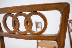 Paolo Buffa Paolo Buffa Set of eight chairs in walnut wood and straw 1950s - 1888999