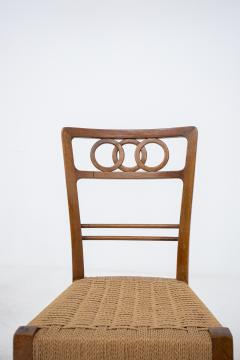 Paolo Buffa Paolo Buffa Set of eight chairs in walnut wood and straw 1950s - 1889000