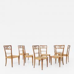 Paolo Buffa Paolo Buffa Set of eight chairs in walnut wood and straw 1950s - 1892085