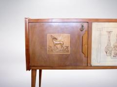 Paolo Buffa style Italian decorated sideboard created in wood brass 1950s - 940361