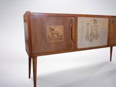 Paolo Buffa style Italian decorated sideboard created in wood brass 1950s - 940363