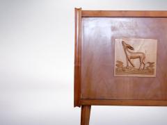 Paolo Buffa style Italian decorated sideboard created in wood brass 1950s - 940364