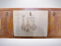 Paolo Buffa style Italian decorated sideboard created in wood brass 1950s - 940365