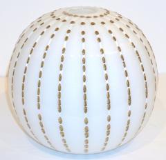 Paolo Crepax Paolo Crepax Italian White Murano Glass Modern Vase with Orange Dot Murrine - 1123404