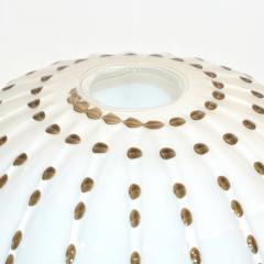 Paolo Crepax Paolo Crepax Italian White Murano Glass Modern Vase with Orange Dot Murrine - 1123407