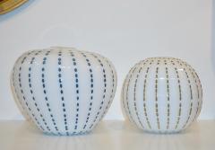 Paolo Crepax Paolo Crepax Italian White Murano Glass Modern Vase with Orange Dot Murrine - 1123411