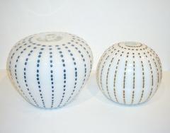 Paolo Crepax Paolo Crepax Italian White Murano Glass Modern Vase with Orange Dot Murrine - 1123412
