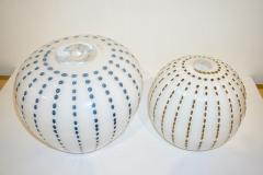 Paolo Crepax Paolo Crepax Italian White Murano Glass Modern Vase with Orange Dot Murrine - 1123413