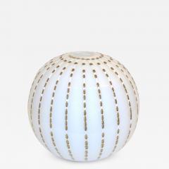 Paolo Crepax Paolo Crepax Italian White Murano Glass Modern Vase with Orange Dot Murrine - 1124027