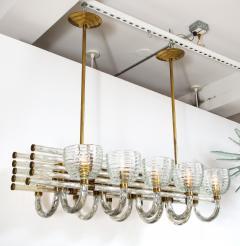 Paolo Venini Large 1930s Paolo Venini Murano Glass and Brass Chandelier - 2077634