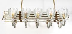 Paolo Venini Large 1930s Paolo Venini Murano Glass and Brass Chandelier - 2077652