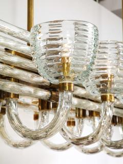 Paolo Venini Large 1930s Paolo Venini Murano Glass and Brass Chandelier - 2077658