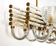 Paolo Venini Large 1930s Paolo Venini Murano Glass and Brass Chandelier - 2077659
