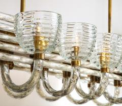 Paolo Venini Large 1930s Paolo Venini Murano Glass and Brass Chandelier - 2077660
