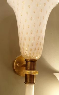 Paolo Venini Large Mid Century Modern White Gold Murano Glass Sconces Venini Style a Pair - 1733886