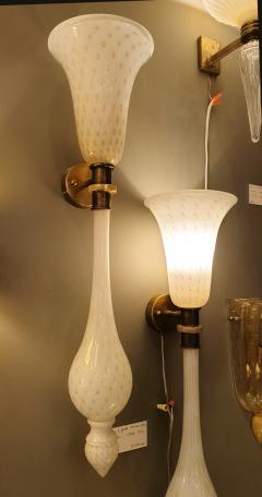 Paolo Venini Large Mid Century Modern White Gold Murano Glass Sconces Venini Style a Pair - 1733889