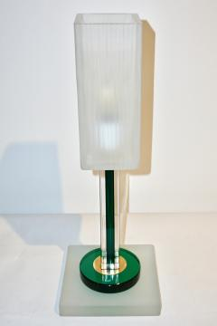 Paolo Venini Venini Vintage Green Pair of Table Lamps with White Frosted Murano Glass Shades - 616741