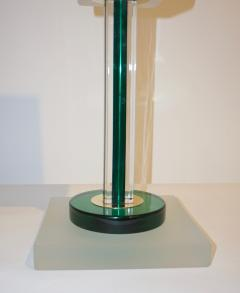 Paolo Venini Venini Vintage Green Pair of Table Lamps with White Frosted Murano Glass Shades - 616746
