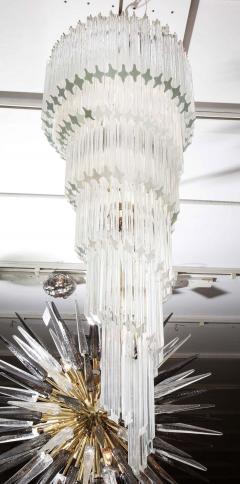 Paolo Venini Vintage 1970s Quadriedri Venini Glass Spiral Chandelier - 1832409