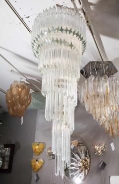 Paolo Venini Vintage 1970s Quadriedri Venini Glass Spiral Chandelier - 1832429