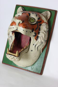 Paper Mache circus tiger wall mask 1890 Germany - 1518231