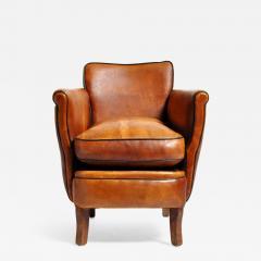 Parisian Brown Leather Armchair - 1195196