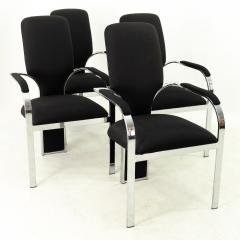 Pastel Furniture Mid Century Chrome Upholstered Dining Chairs Set of 4 - 1870216