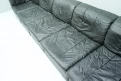 Patchwork Sectional in Black Leather Sofa 5 Elements 1970s - 1873846