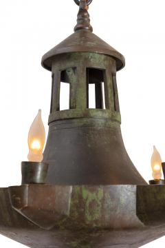 Patinated Bronze Oil Light Style Chandelier Denmark 1930s - 1030609