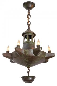 Patinated Bronze Oil Light Style Chandelier Denmark 1930s - 1030611