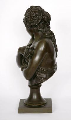 Patinated bronze antique French bust of a lady after Houdon - 1516279