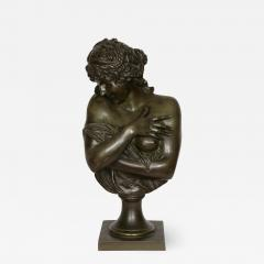 Patinated bronze antique French bust of a lady after Houdon - 1517901
