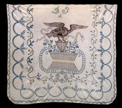 Patriotic Bedcover Embroidered with American Eagle and Shield - 70312