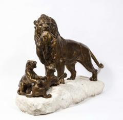 Paul Edouard Delabriere Paul Edouard Delabriere French 1829 1923 Large Bronze Sculpture of A Lion - 2137787