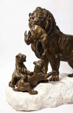 Paul Edouard Delabriere Paul Edouard Delabriere French 1829 1923 Large Bronze Sculpture of A Lion - 2137791