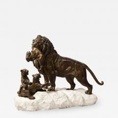 Paul Edouard Delabriere Paul Edouard Delabriere French 1829 1923 Large Bronze Sculpture of A Lion - 2139224