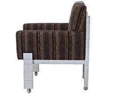 Paul Evans Cityscape Fabric Desk Arm Side Chair with Castors by Paul Evans Inc - 1804074