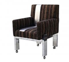 Paul Evans Cityscape Fabric Desk Arm Side Chair with Castors by Paul Evans Inc - 1804075