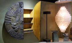 Paul Evans Iconic Paul Evans Studio Sculpted Bronze Wall Mount Disc Bar for Directional - 1345503