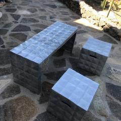Paul Evans Modern Cube Side Tables Bench Set in Aluminum 1970s Paul Evans era - 1897002