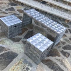 Paul Evans Modern Cube Side Tables Bench Set in Aluminum 1970s Paul Evans era - 1897003
