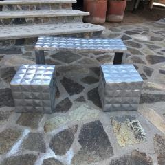Paul Evans Modern Cube Side Tables Bench Set in Aluminum 1970s Paul Evans era - 1897004