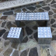 Paul Evans Modern Cube Side Tables Bench Set in Aluminum 1970s Paul Evans era - 1897005