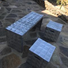 Paul Evans Modern Cube Side Tables Bench Set in Aluminum 1970s Paul Evans era - 1897007