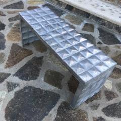 Paul Evans Modern Cube Side Tables Bench Set in Aluminum 1970s Paul Evans era - 1897013