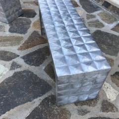 Paul Evans Modern Cube Side Tables Bench Set in Aluminum 1970s Paul Evans era - 1897014